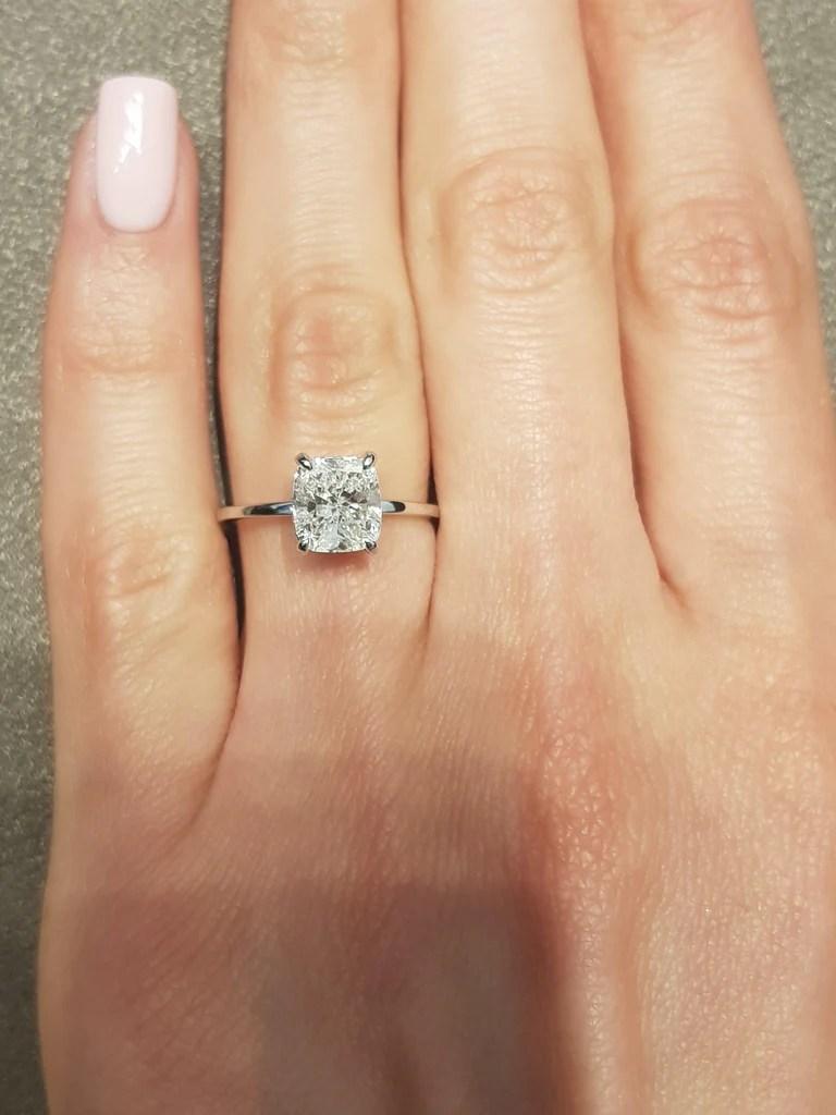 1 70 carat cushion cut hidden halo diamond engagement ring