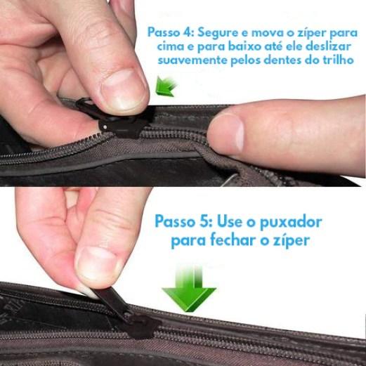 Zipper Fix Kit de Reparação 12pc Substituição Ziper Instantâneo
