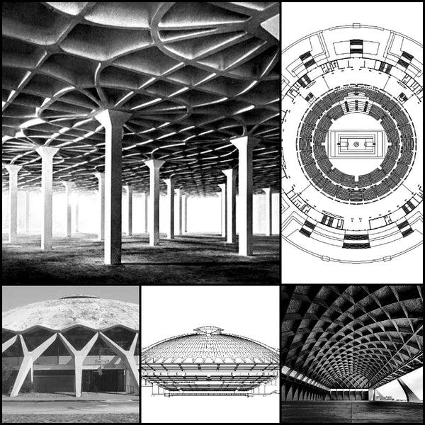 World Famous Architecture CAD Drawings PalaLottomatica Pier Luigi Nervi Palazzo Dello Sport O