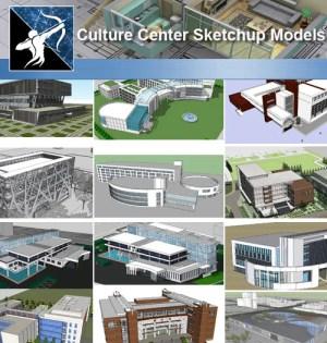 ★Sketchup 3D Models-15 Types of Culture Center Sketchup Models