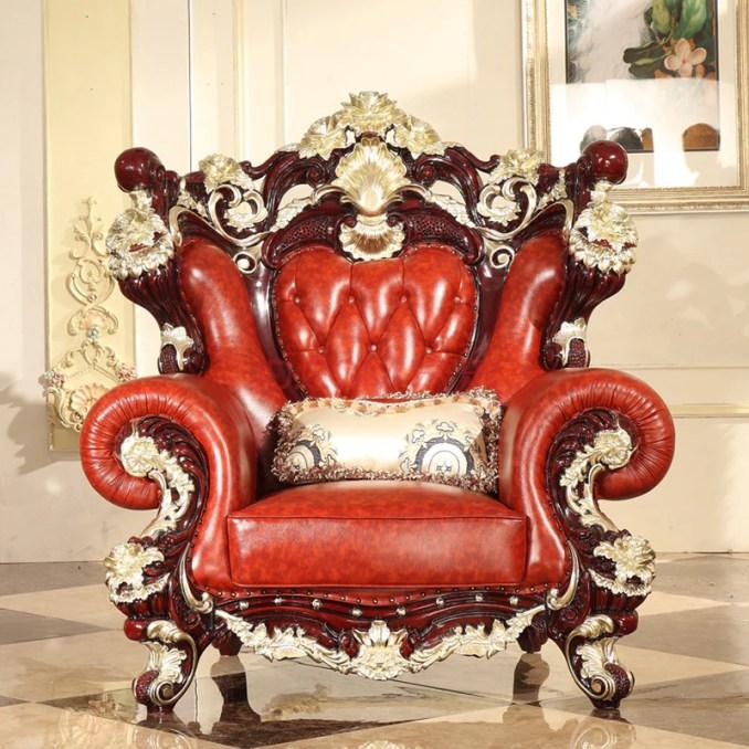 luxury European Style Wooden Full Leather Sofa set living