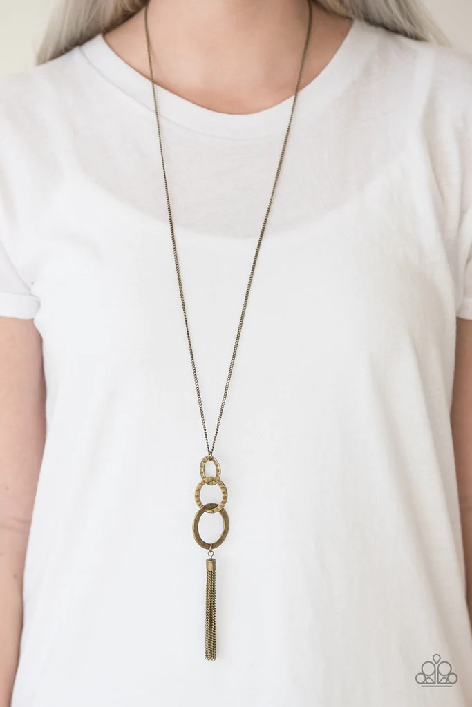 Paparazzi Dont BOLD Back Brass Hoop Tassel Necklace