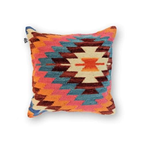 orange boho kilim pillow kilimology