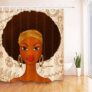 afro hairstyle african american woman mural shower curtain