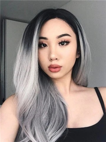 Popular Black Roots Grey Ombre Long Synthetic Lace Front