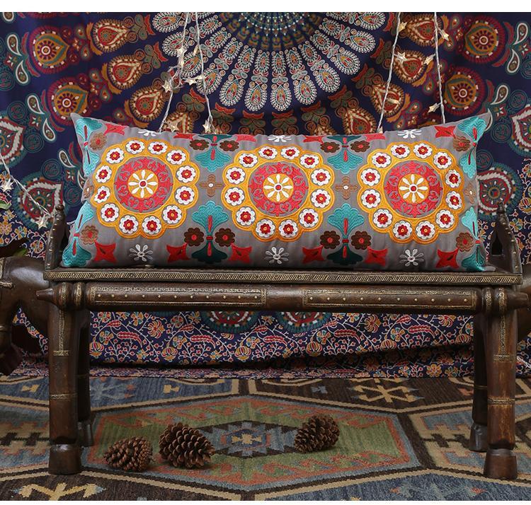 long rectangular decorative embroidered pillow cover cotton throw pil silvia home craft