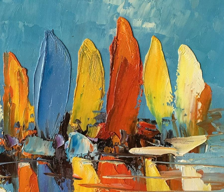 Abstract Painting Heavy Texture Oil Painting Sail Boat Painting Sma Silvia Home Craft