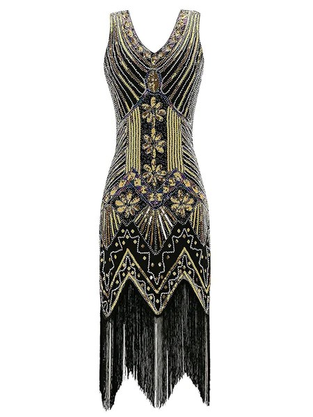 Gold 1920s Sequined Flapper Dress Retro Stage Chic