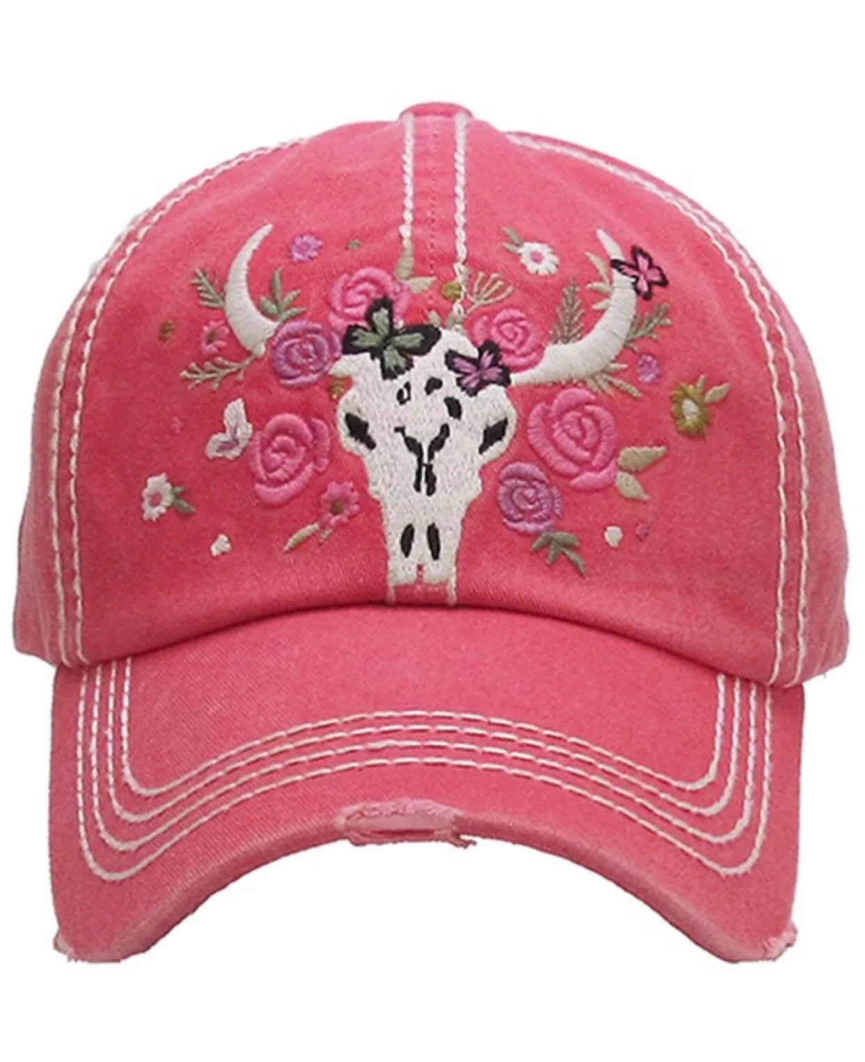 5e4b682bbef22 Floral Cow Skull Hat Magnolia Junction Boutique