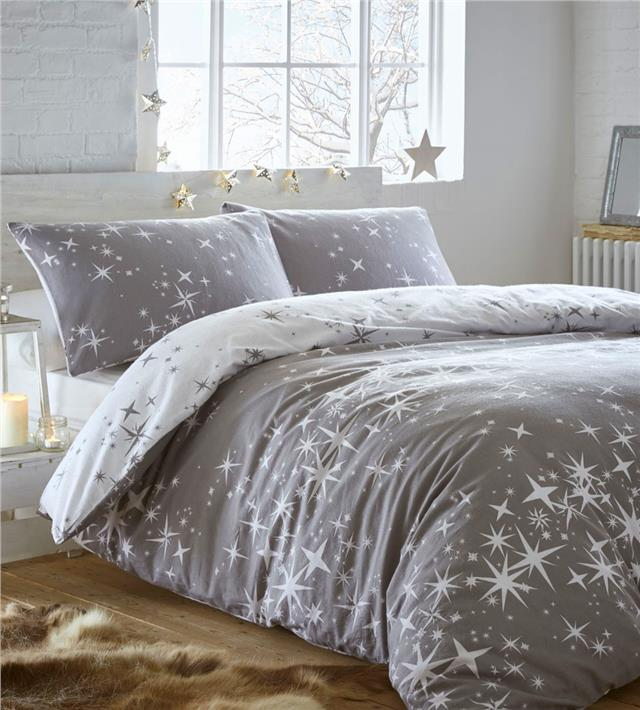 Brushed Cotton Duvet Set Galaxy Stars Flannelette Quilt Cover Reversib Homemaker Bedding