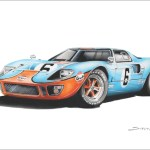 Steve Erwin Art Ford Gt40 Gulf Prints A3 A4 A5 Sizes Sentimetal Shop