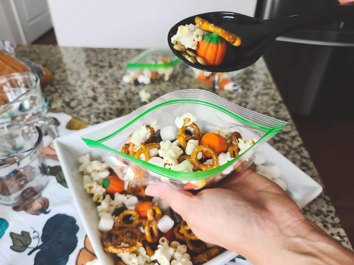 fall snack mix with elderberry gummies