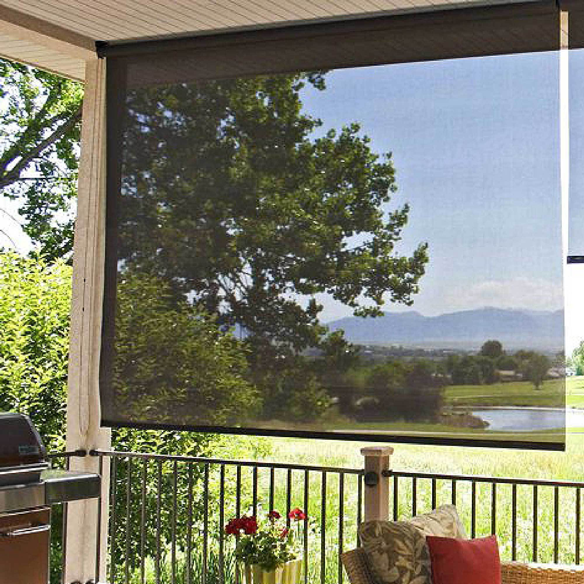 dalix outdoor roller shade exterior roll up sun shade patio outdoor ready made 72 x 72 in black