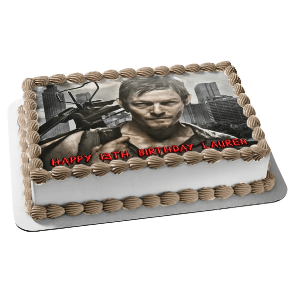 The Walking Dead Darryl X Bow Edible Cake Topper Image Abpid05705 A Birthday Place