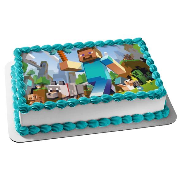 Minecraft Steve Diamond Pickaxe Wolf Creeper Edible Cake Topper Image A Birthday Place