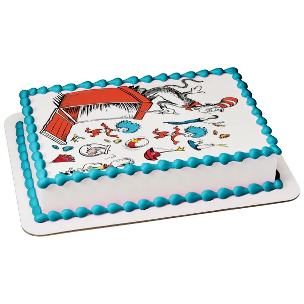 Dr Seuss Thing 1 Thing 2 The Cat In The Hat Edible Cake Topper Image A Birthday Place