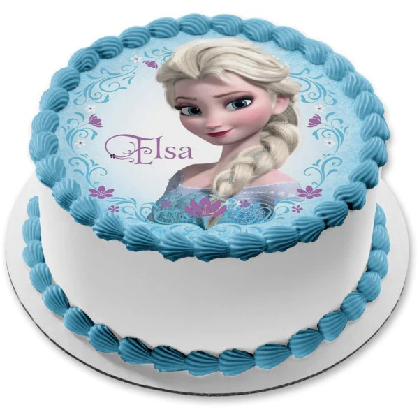 Disney Frozen Elsa Name Purple Flowers Edible Cake Topper Image Abpid0 A Birthday Place