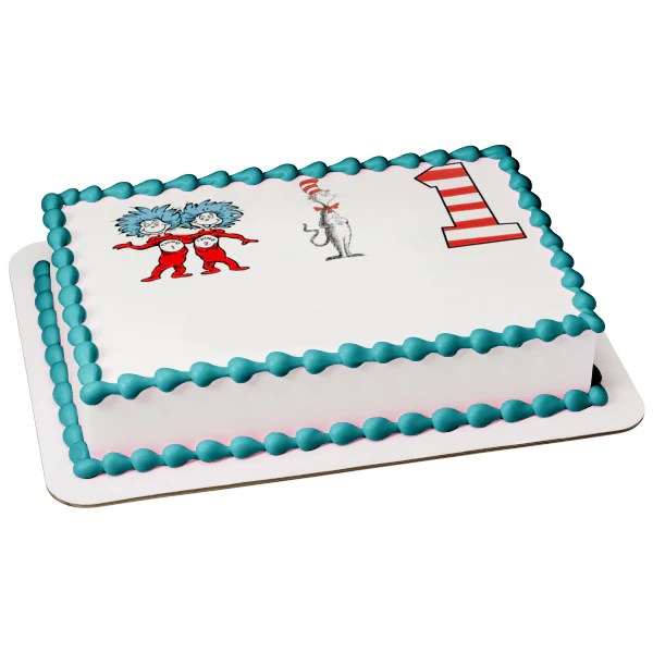 Dr Seuss Thing 1 Thing 2 The Cat In The Hat Number 1 Edible Cake Topp A Birthday Place