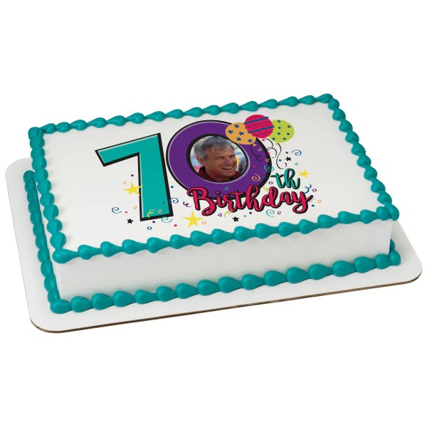 Happy 70th Birthday Edible Cake Topper Image Frame A Birthday Place