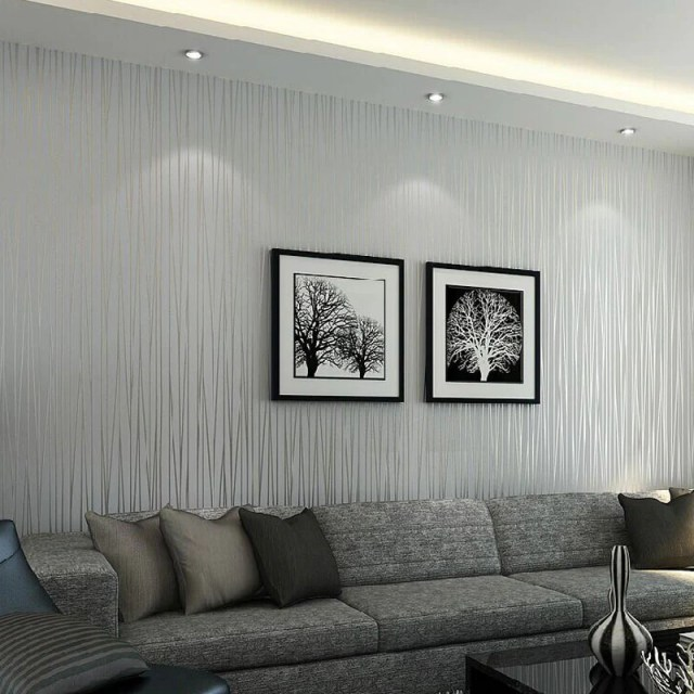 Modern Solid Color Vertical Striped Wallpaper Wallcovering ...