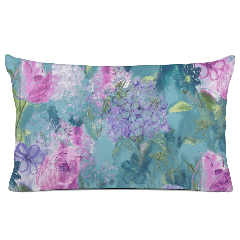 floral pillow sham bedding arabella turquoise purple pink floral design