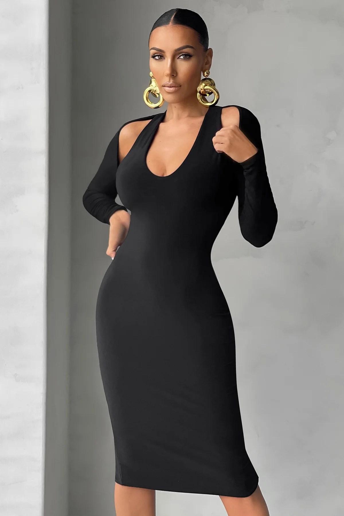 Black Long Sleeve Cut Out Plunge Midi Dress Club L London Uk