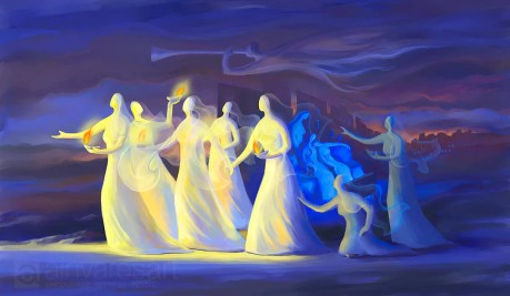 "Art print ""The Parable of the Ten Virgins"" Mt 25:1-13 — AinVaresArt"