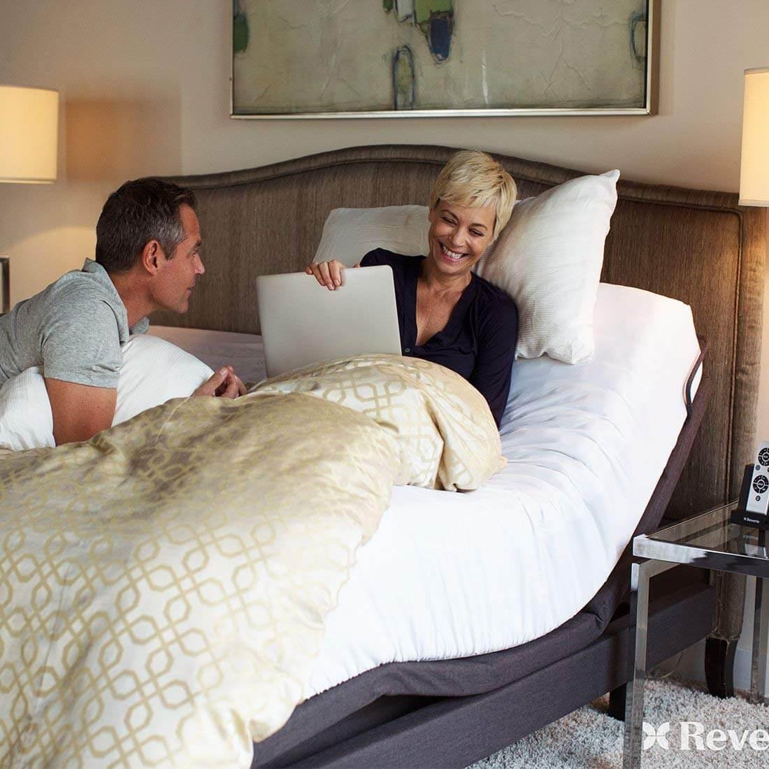 reverie 8q adjustable base head tilt wireless bluetooth massage under bed lighting