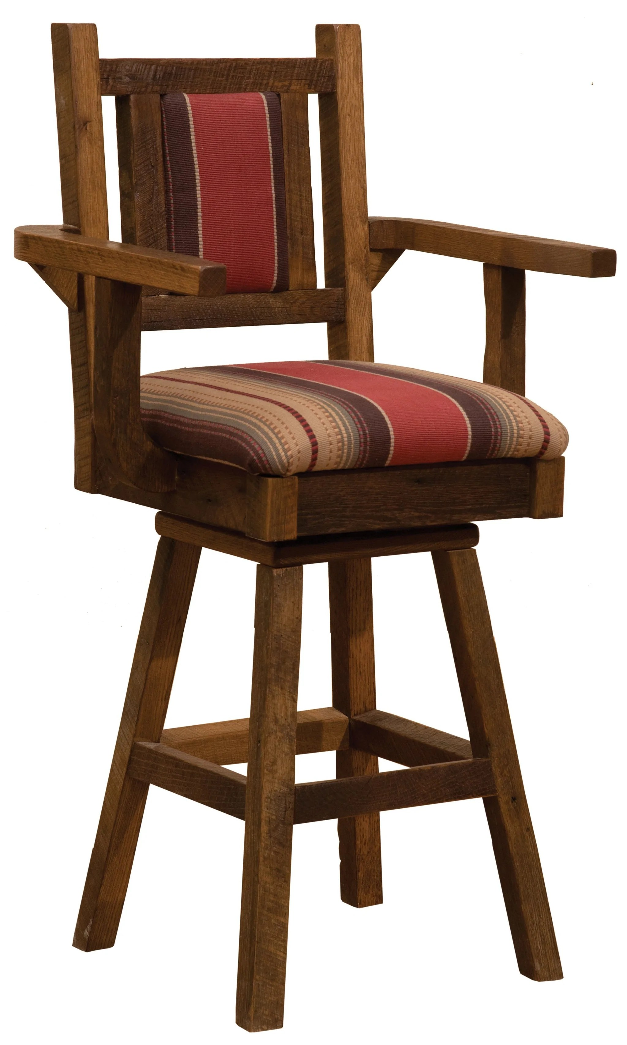 Barnwood Swivel Upholstered Bar Stool With Back And Arms 30 Seat He