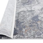 Nami Blue Stone And Bronze Marble Transitional Motif Runner Rug