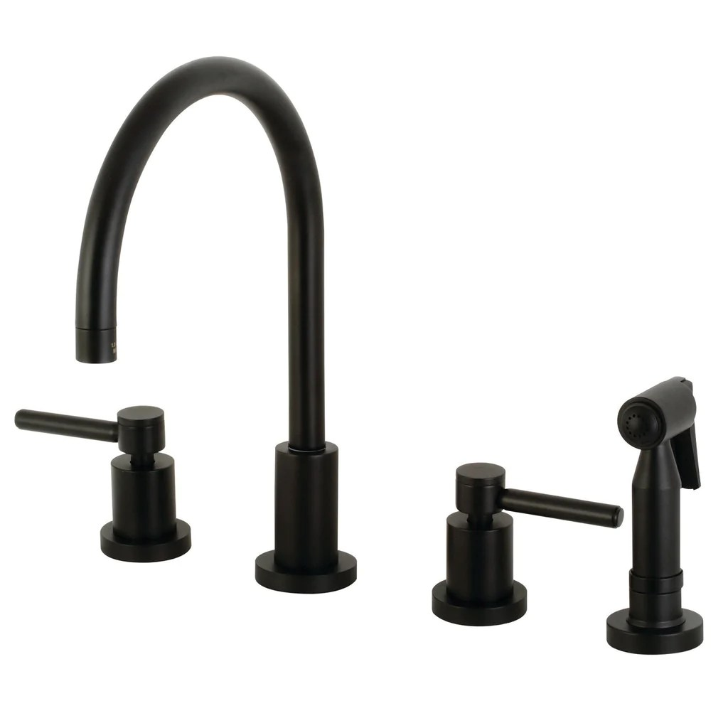concord two handle 4 hole deck mount widespread kitchen faucet with brass sprayer