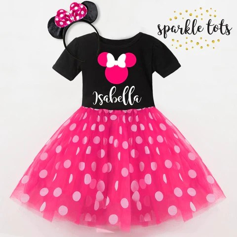 Minnie Mouse Personalised Dress Pink Sparkle Tots