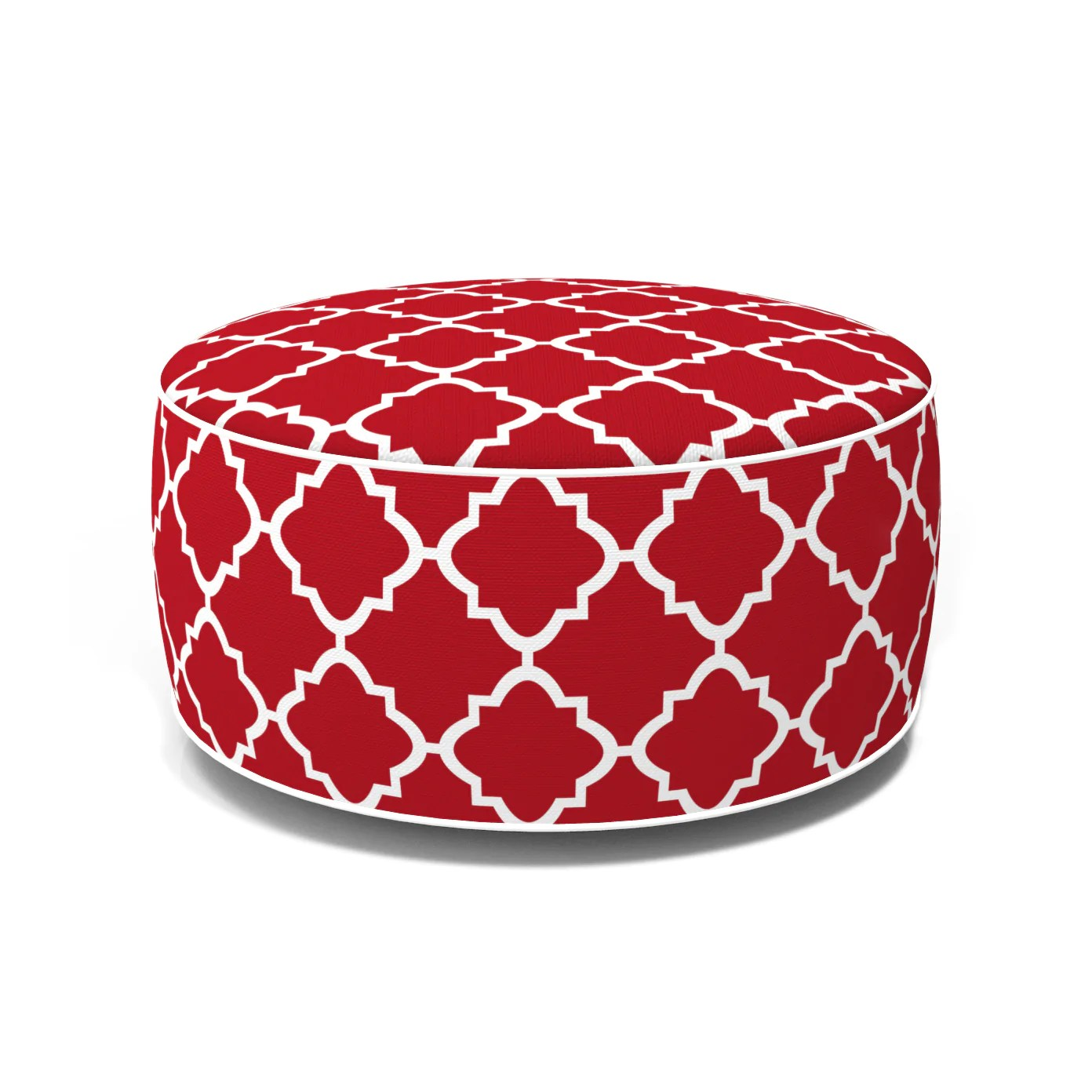 outdoor inflatable ottoman red quatrefoil lattice round 21x9 inch patio foot stools and ottomans