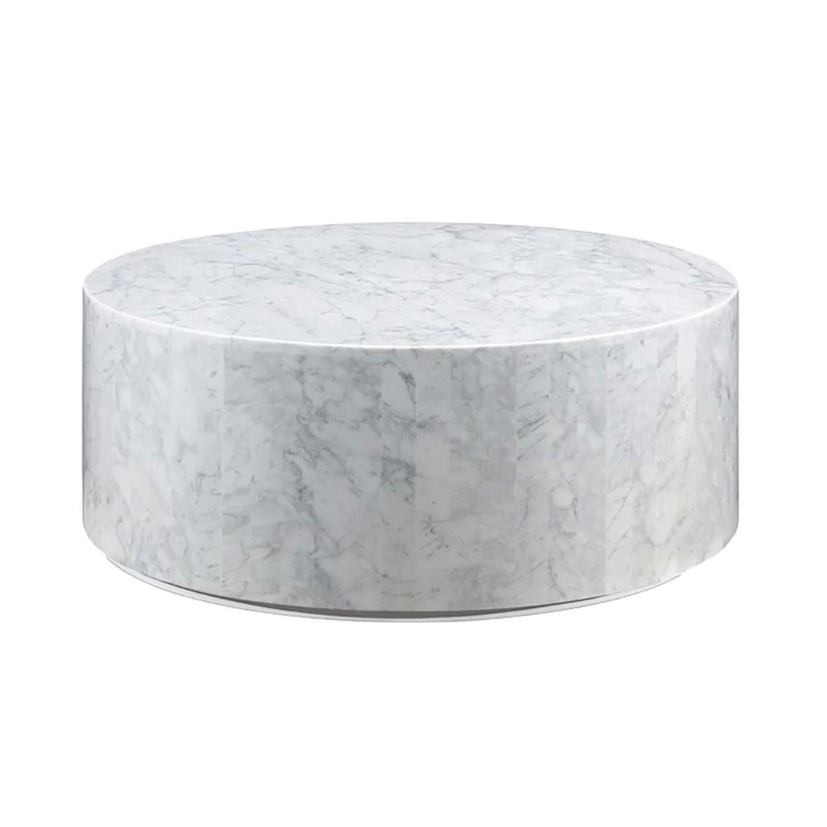 carrara marble drum coffee table
