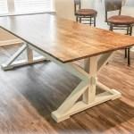 Modern Farmhouse Trestle Style Farm Table Handmade Overlin Designs