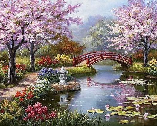 broderie point de croix jardin zen japonais point de croix