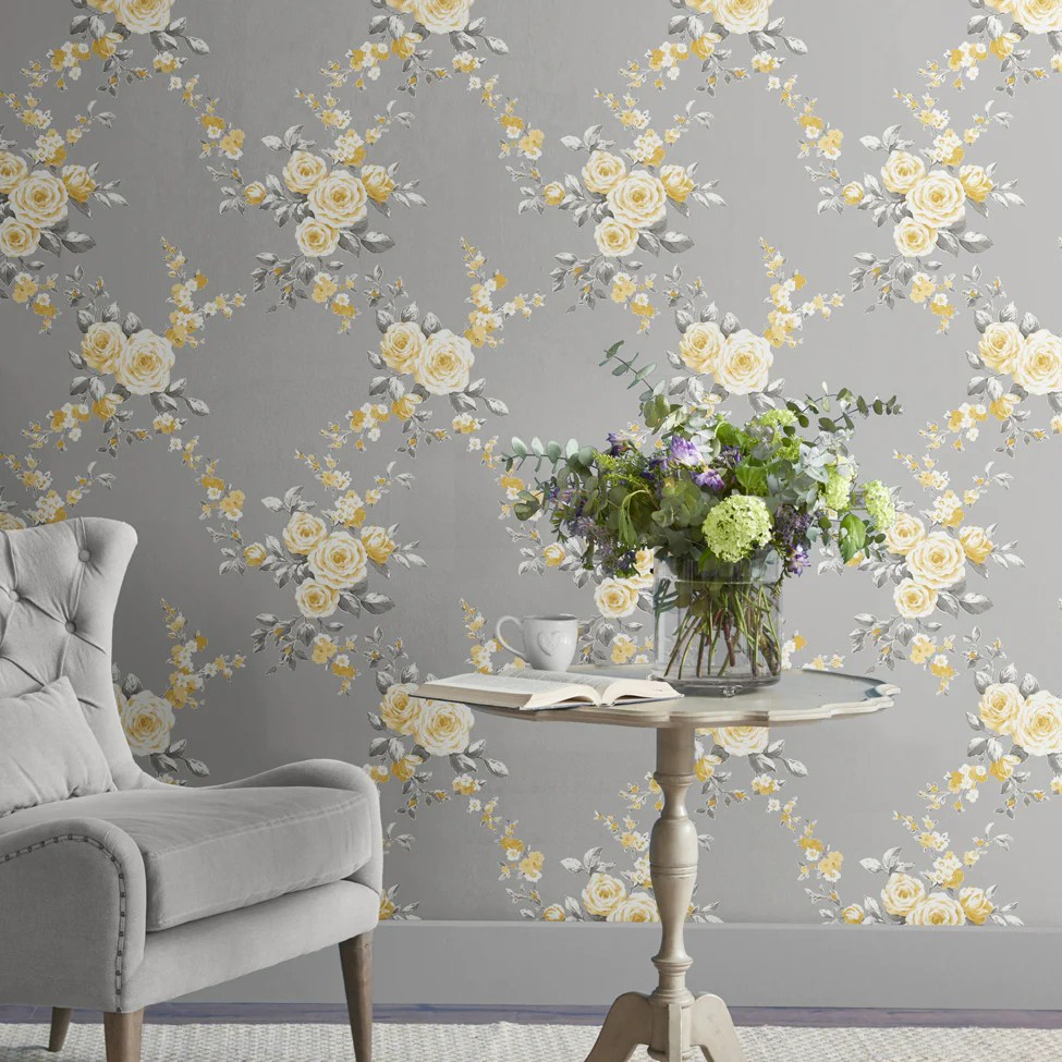 Catherine Lansfield Canterbury Grey And Yellow Floral Wallpaper 165502