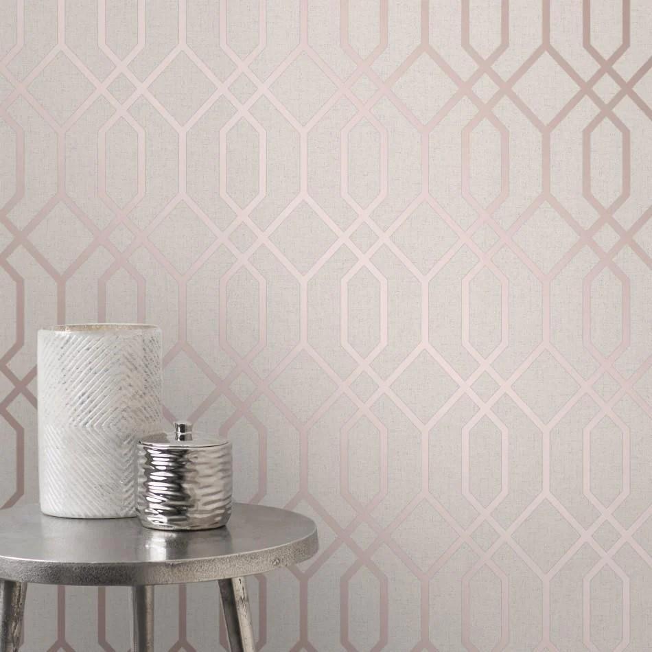 Quartz Stone And Rose Gold Geometric Trellis Wallpaper Fd42306