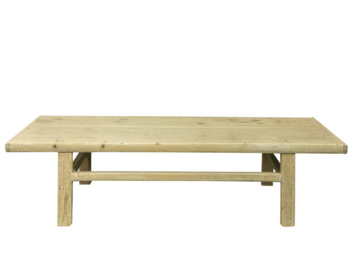 recycled pine simple coffee table bleached