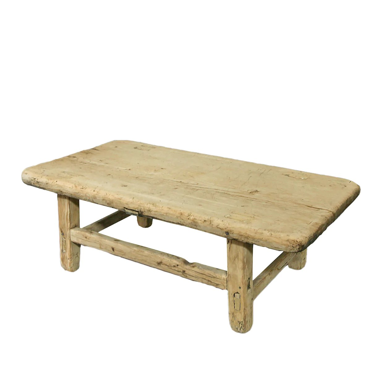 recycled pine small low coffee table bleached