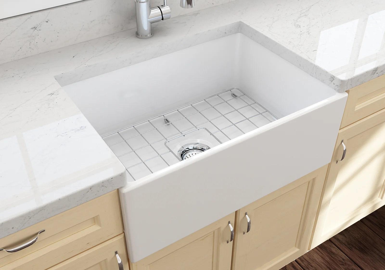 bocchi contempo 27 fireclay farmhouse apron single bowl kitchen sink white 1356 001 0120