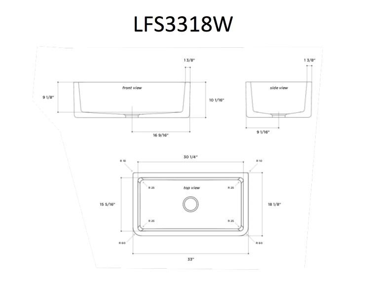 latoscana 33 fireclay single bowl white farmhouse apron sink reversible lfs3318w