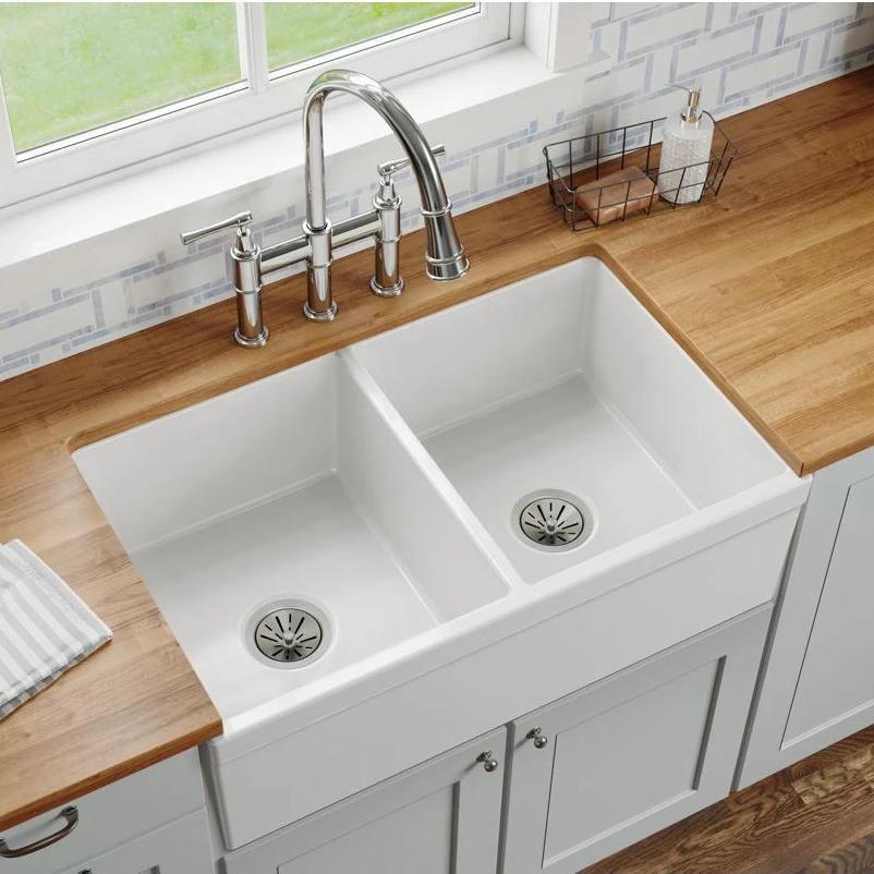 elkay 33 fireclay farmhouse kitchen sink 50 50 double bowl white swuf32189wh