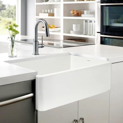 houzer platus 33 farmhouse apron front fireclay kitchen sink ptg 4300 wh
