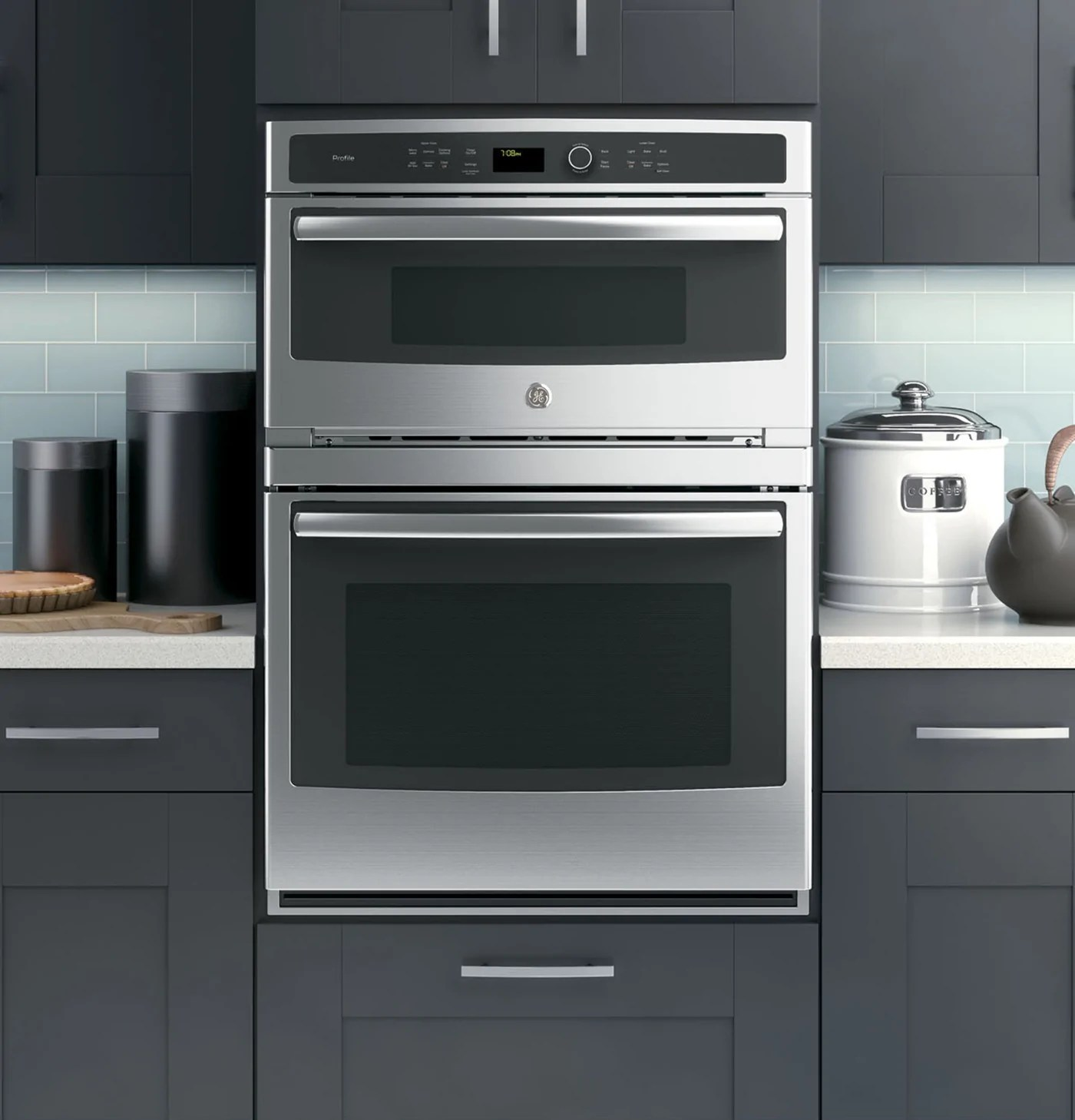 ge profile stainless steel 30 inch built in combination convection microwave true european convection oven pt7800shss