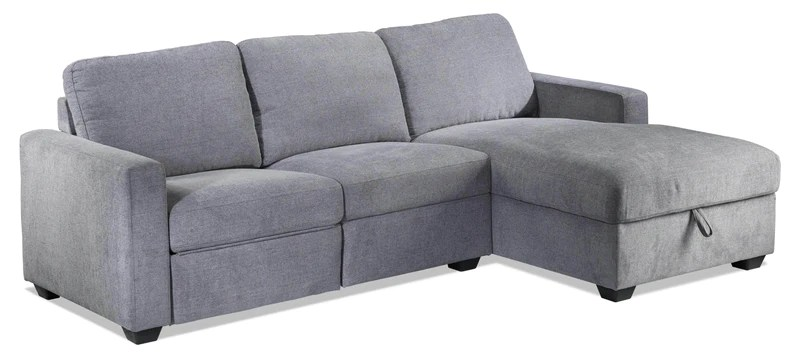 oats 2 piece reclining sectional with right facing chaise and storage grey