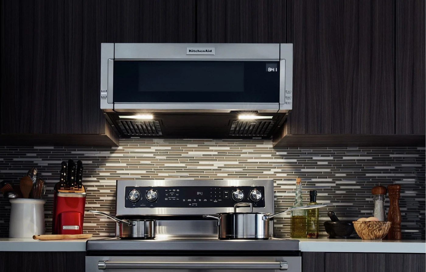 kitchenaid stainless steel low profile over the range microwave and hood combination 1 1 cu ft ykmls311hss