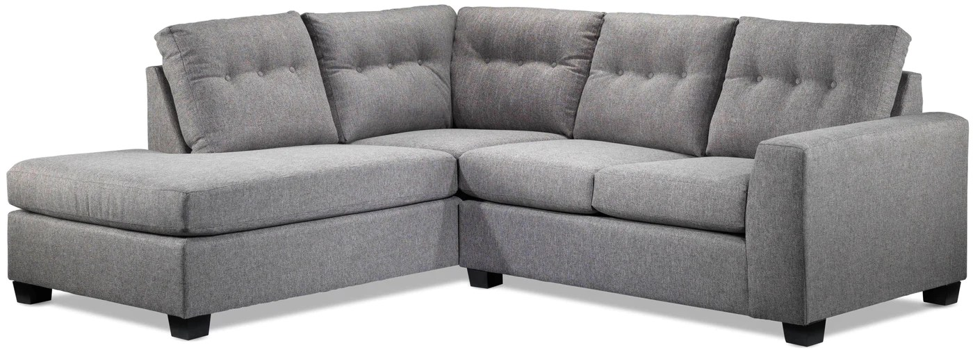 estelle 2 piece sectional with left facing chaise grey