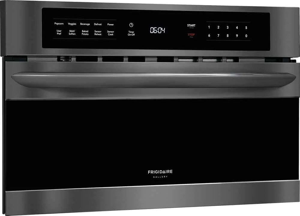 frigidaire gallery black stainless steel 30 inch built in microwave oven with drop down door 1 6 cu ft fgmo3067ud