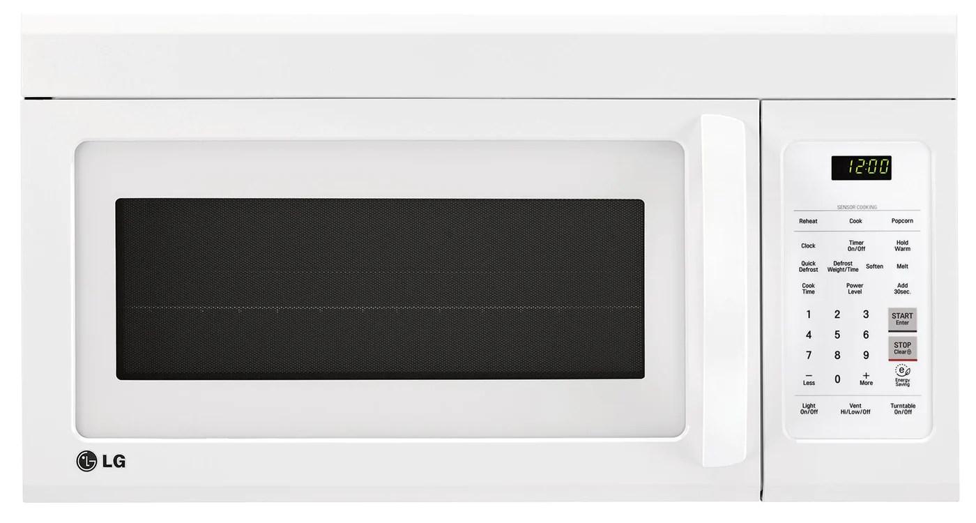 lg appliances white over the range microwave 1 8 cu ft lmv1852sw